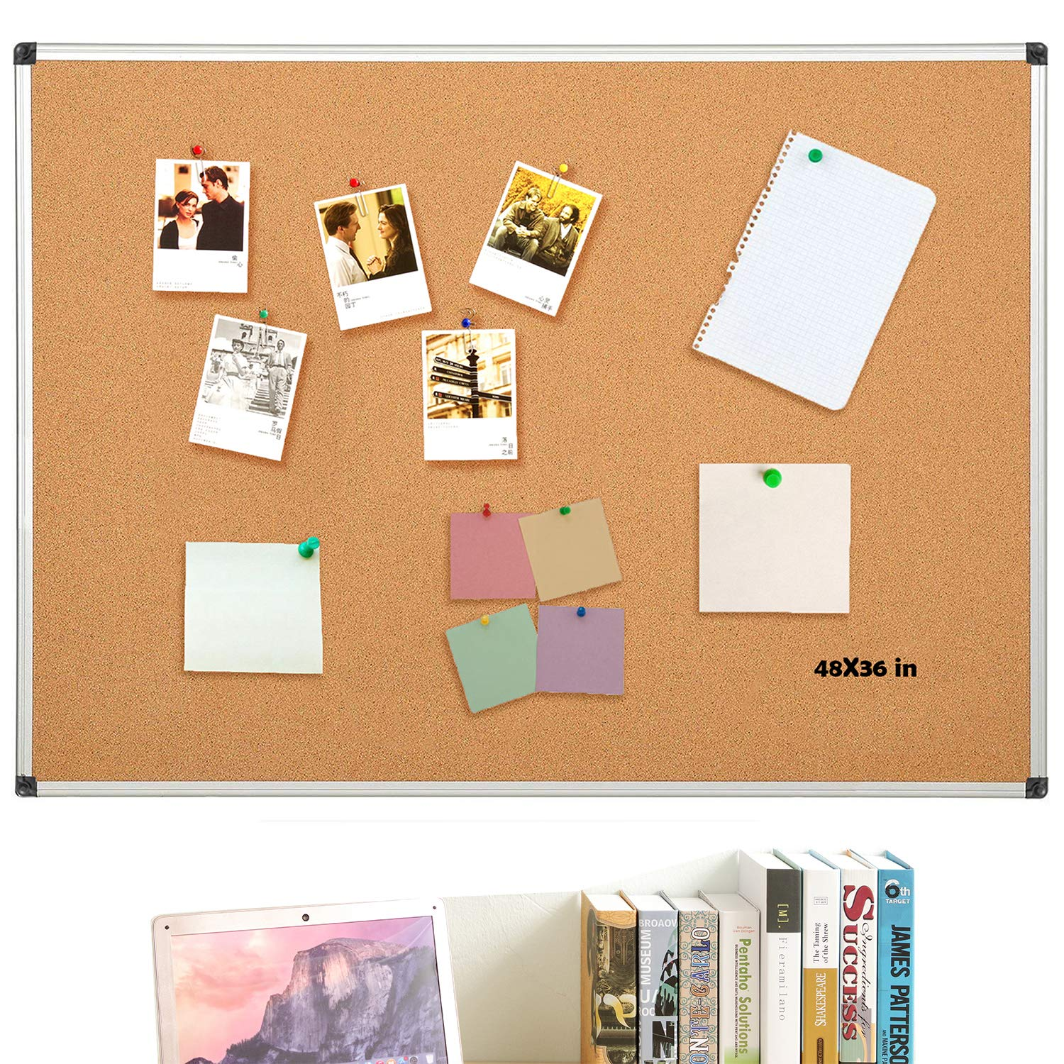 Aluminum Frame Cork Board Bulletin Board 48 x 36, Display and Organization Board, Wall Mounting Hardware, Push Pins Included Gideal