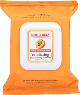 product image for Burt's Bees Facial Cleansing Towelettes, Peach & Willow Bark Exfoliating, 25 Count
