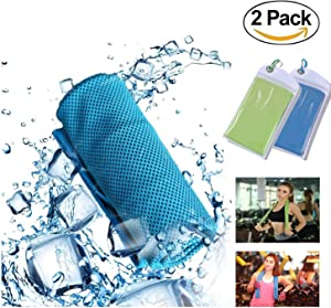 """YLD [2 Pack Cooling Towel,Cooling Towels for Neck,Chilling Neck Wrap,Ice Cold Scarf for Sports Basketball Golf Football Yoga Workout Gym Pilates Travel Camping Towels by 39""""x 12"""""""