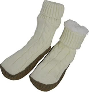 NIce Caps Womens Cable Knit Slipper Socks with Non-Skid Gripper Soles