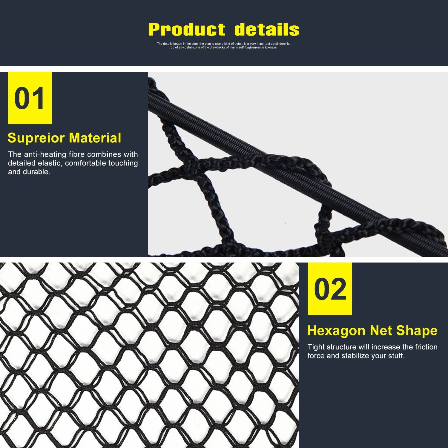 100x40cm Nylon Plastic Black Car Storage Bag Hook Pouch Cargo Net Truck Rear Cargo Net Luggage Organizer