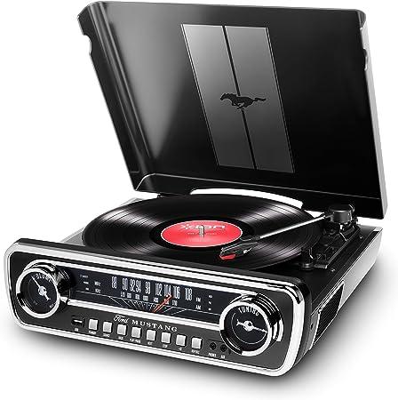 Ion Audio Mustang Lp Usb Plattenspieler Mit Lautsprecher Schallplattenspieler Retro Mit Radio Aux Eingang Und Vinyl Zu Mp3 Kovertierungssoftware Schwarzer Lack Ein Muss Für Ford Mustang Fans Musikinstrumente