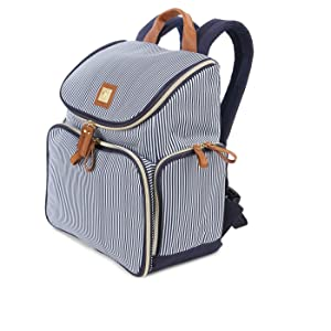Bananafish Striped Breast Pump Backpack, Blue/White - Material: Polyester