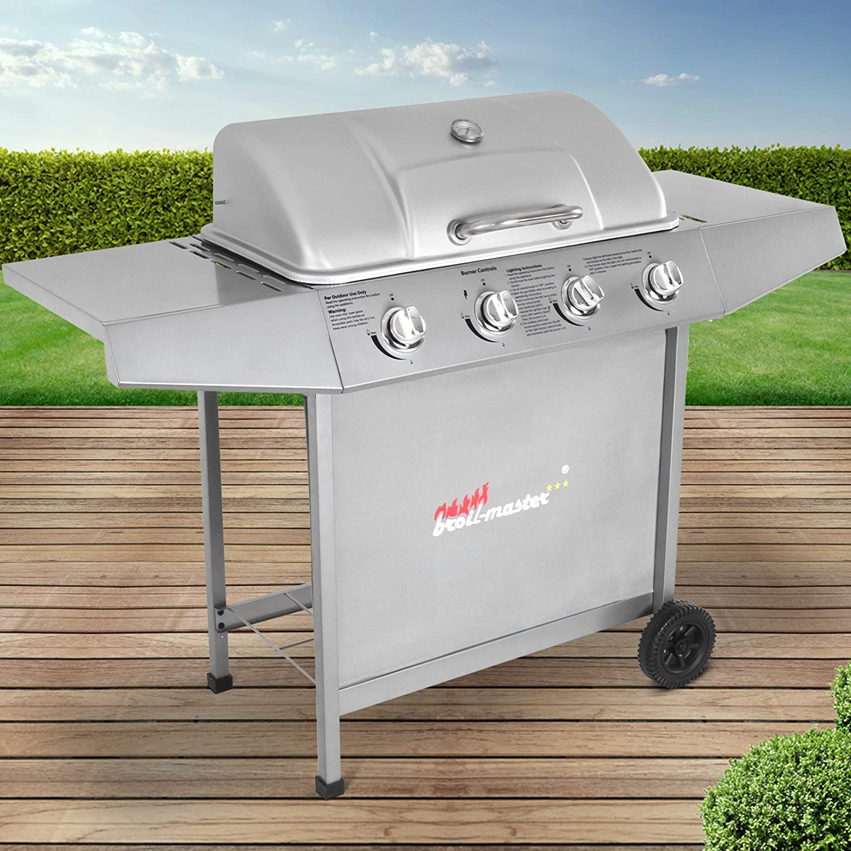 Griglia per Giardino A Gas con 4 Bruciatori   Area Grill 64,5 x 35,5 cm, con Termometro, colore  argentoo   Barbecue, Picnic e Terrazzo, BBQ Gas