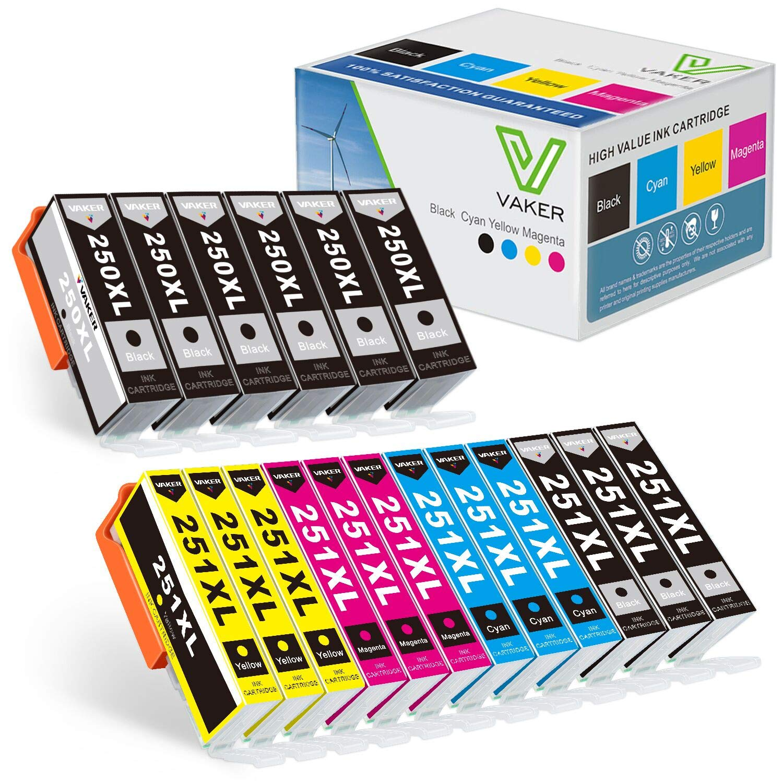 VAKER Compatible 250 251 XL Ink Cartridge Replacement for Canon PGI-250XL CLI-251XL Ink for Canon PIXMA MX922 IX6820 IP7220 MG6620 MG7120 Printer 18-Pack(6 PGBK 3 Black 3 Cyan 3 Magenta 3 Yellow)