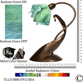 product image for Jezebel Radiance TLLD-BBH-FP12-SEA Flame Style Brown with Brown Highlights Lazy Daisy Lamp, Seafoam Green