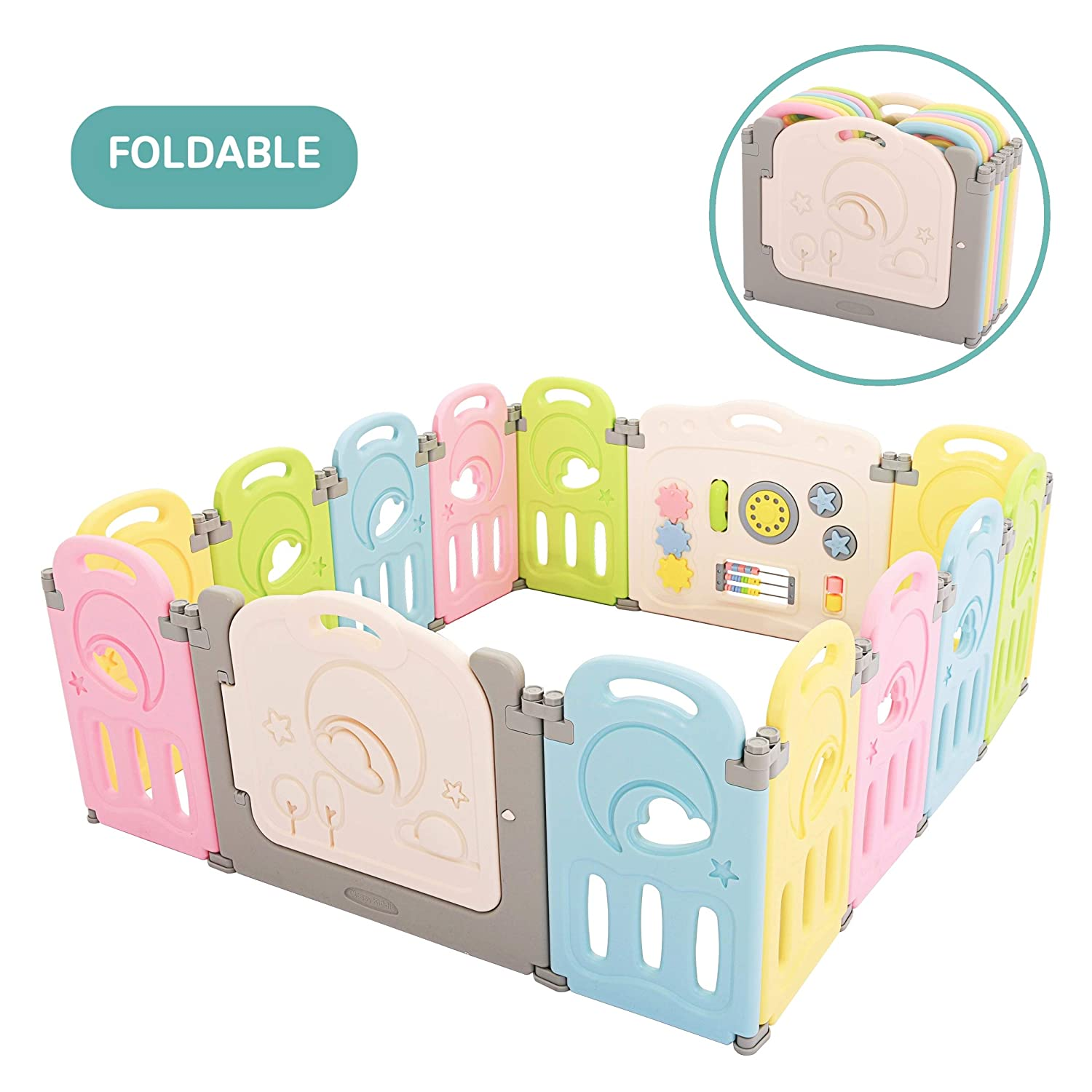 Fortella Cloud Castle Foldable Playpen, Baby Safety Play Yard with Whiteboard and Activity Wall, Indoors or Outdoors Multicolor 14 Panel