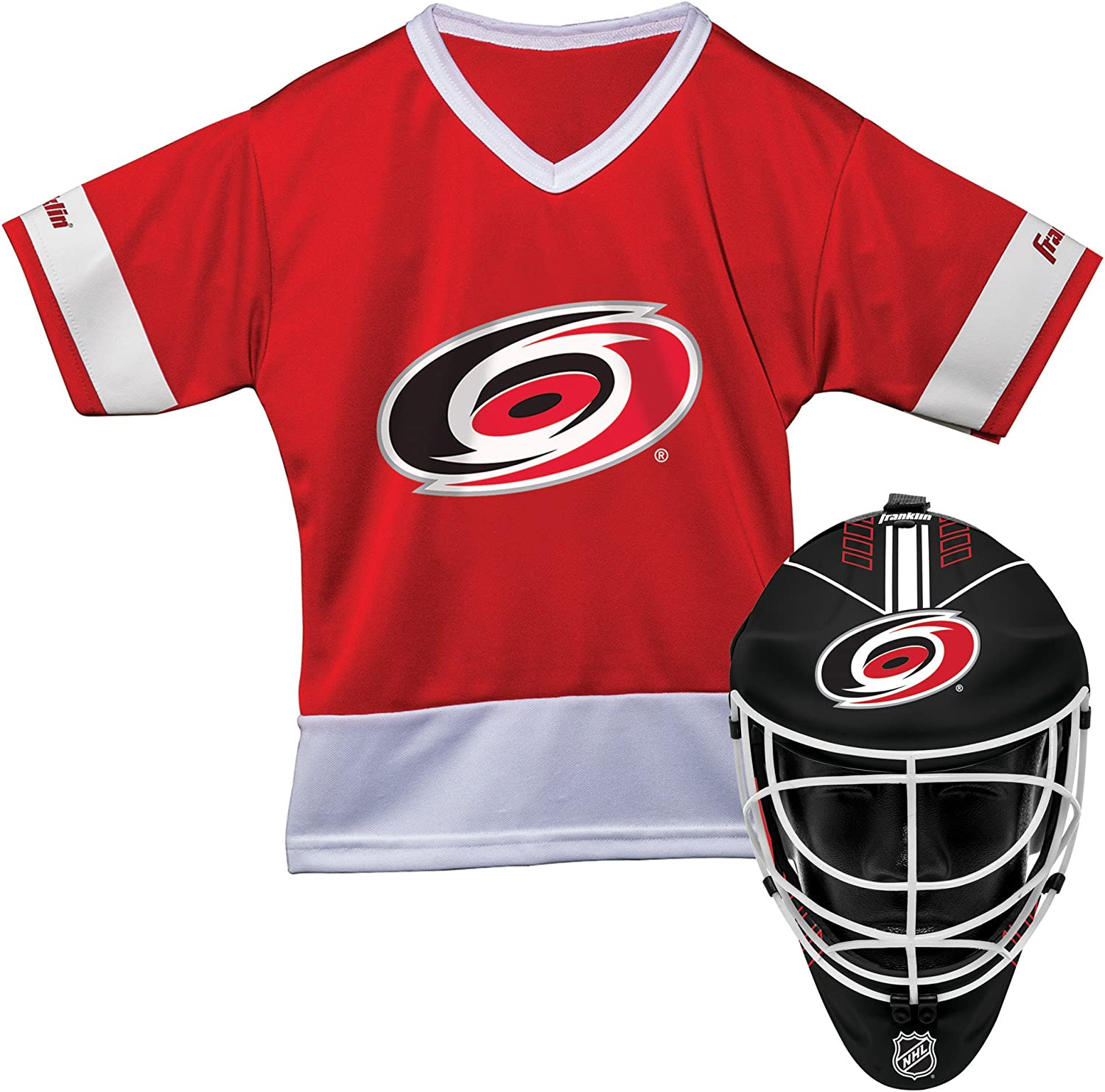 Franklin Sports Carolina Hurricanes Kid's Hockey Costume Set - Youth Jersey & Goalie Mask - Halloween Fan Outfit - NHL Official Licensed Product