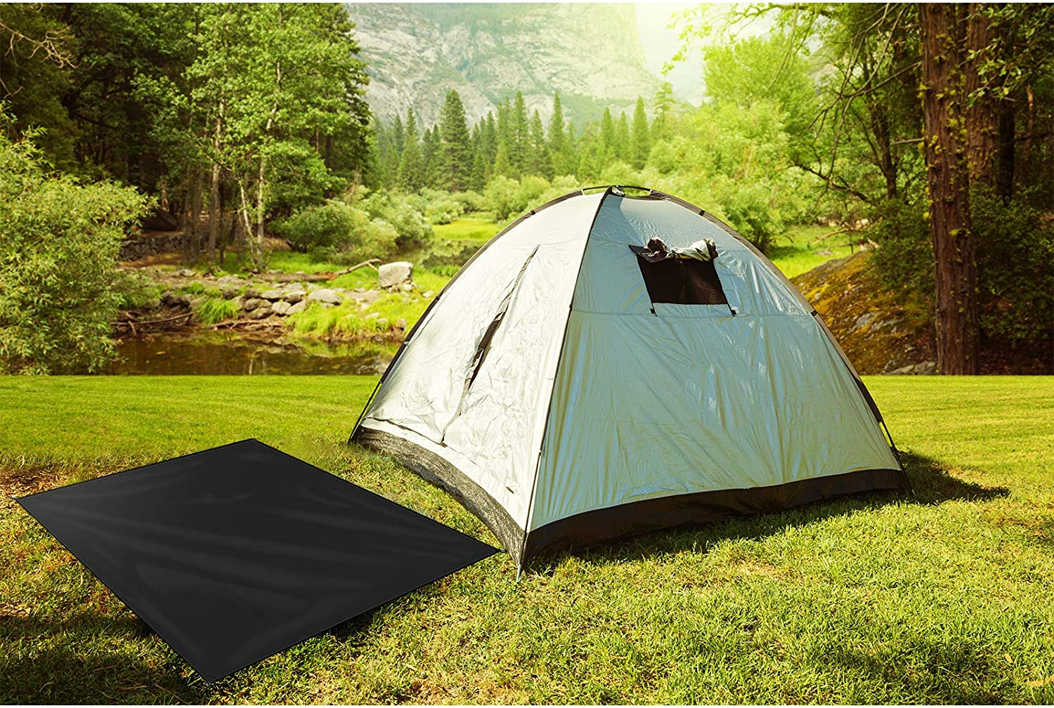 Skylety Waterproof Camping Tarp 79 x 82 Inch Large Camping Tent Tarp Lightweight with 4 Tent Pegs for Camping Hiking Compact Outdoor Gear to Cover Sun or Rain
