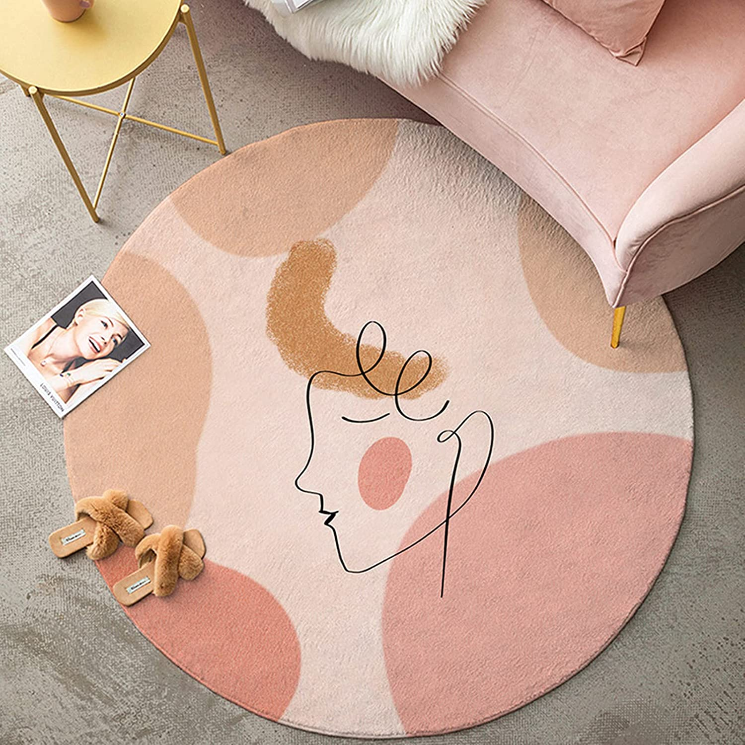 YoKii Cute Pink Round Rug 3ft for Bedroom Living Room Modern Boho Faux Wool Soft Circle Bathroom Rug Rubber Backed Small Area Rugs Abstract Aesthetic Dorm Carpet Room Deocr (Rounnd-3ft, Pink)