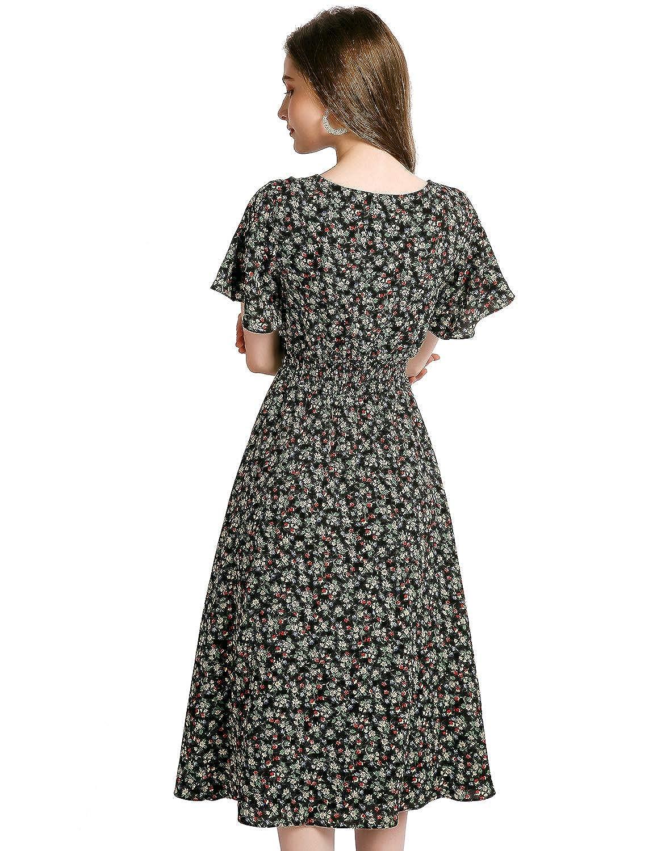 4e5d5896bf Amazon.com: Gardenwed Floral Print Chiffon Summer Dresses for Women Flowy  Midi Sundress Bohemian Beach Party Dress: Clothing