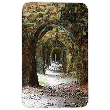 Wonderful Rectangular Area Rug Mat Rug,Rustic Home Decor,Ruins Of Arched Medieval  Period Brick
