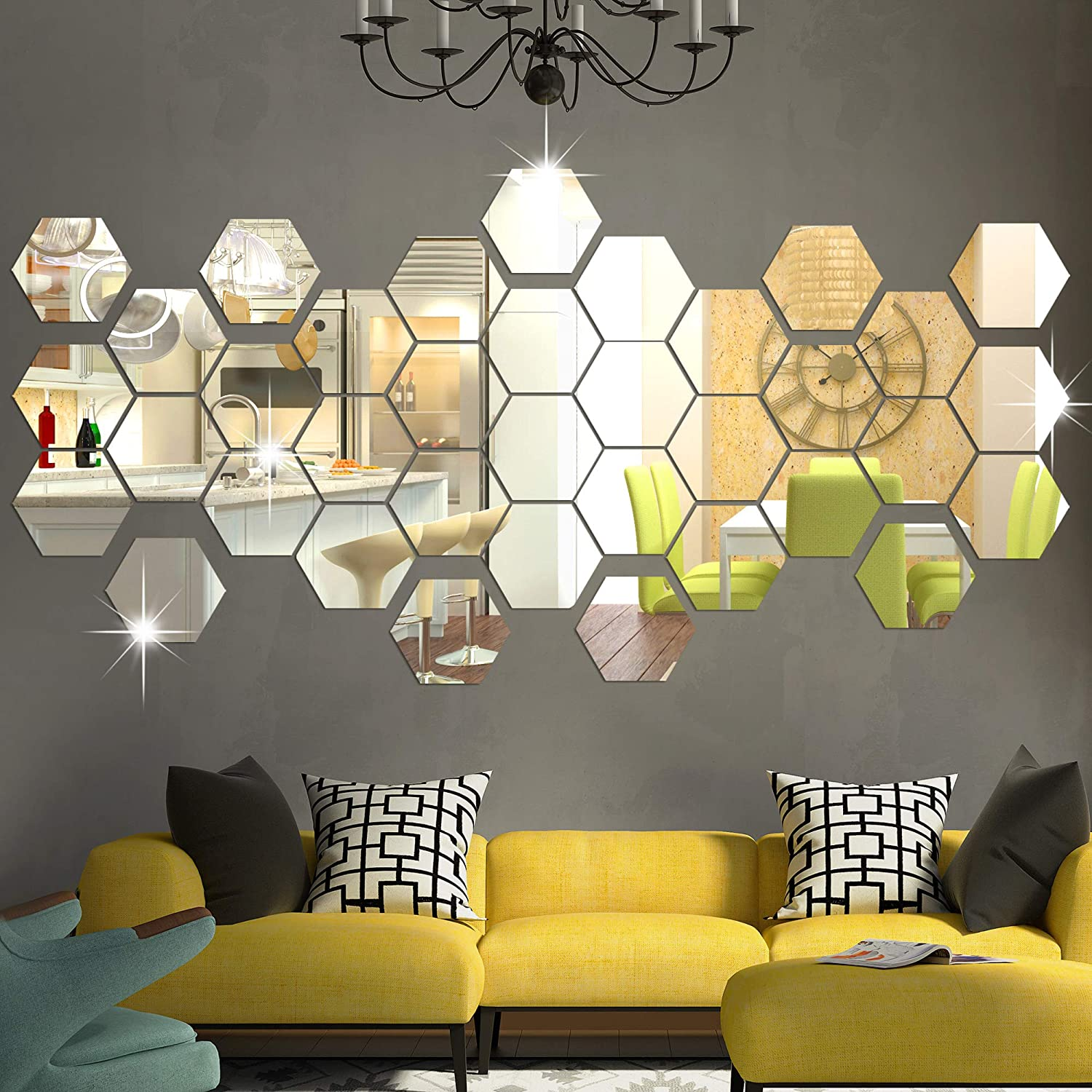 RW-103 36 PCS Acrylic Mirror Wall Stickers Hexagon Mirror Wall Decals DIY Removable 3D Geometric Hexagon Mirror Art Setting Wall Decor for Bedroom Living Room Office Kitchen Home Decoration (Silver)