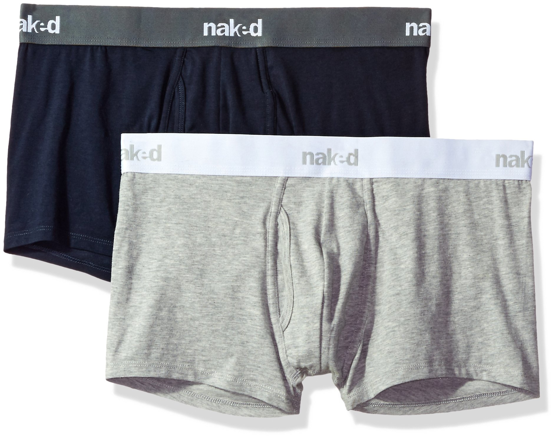 Naked Men's Stretch Cotton Trunks 2 Pack, Peacoat/Metro Grey Combo, X-Large by Naked