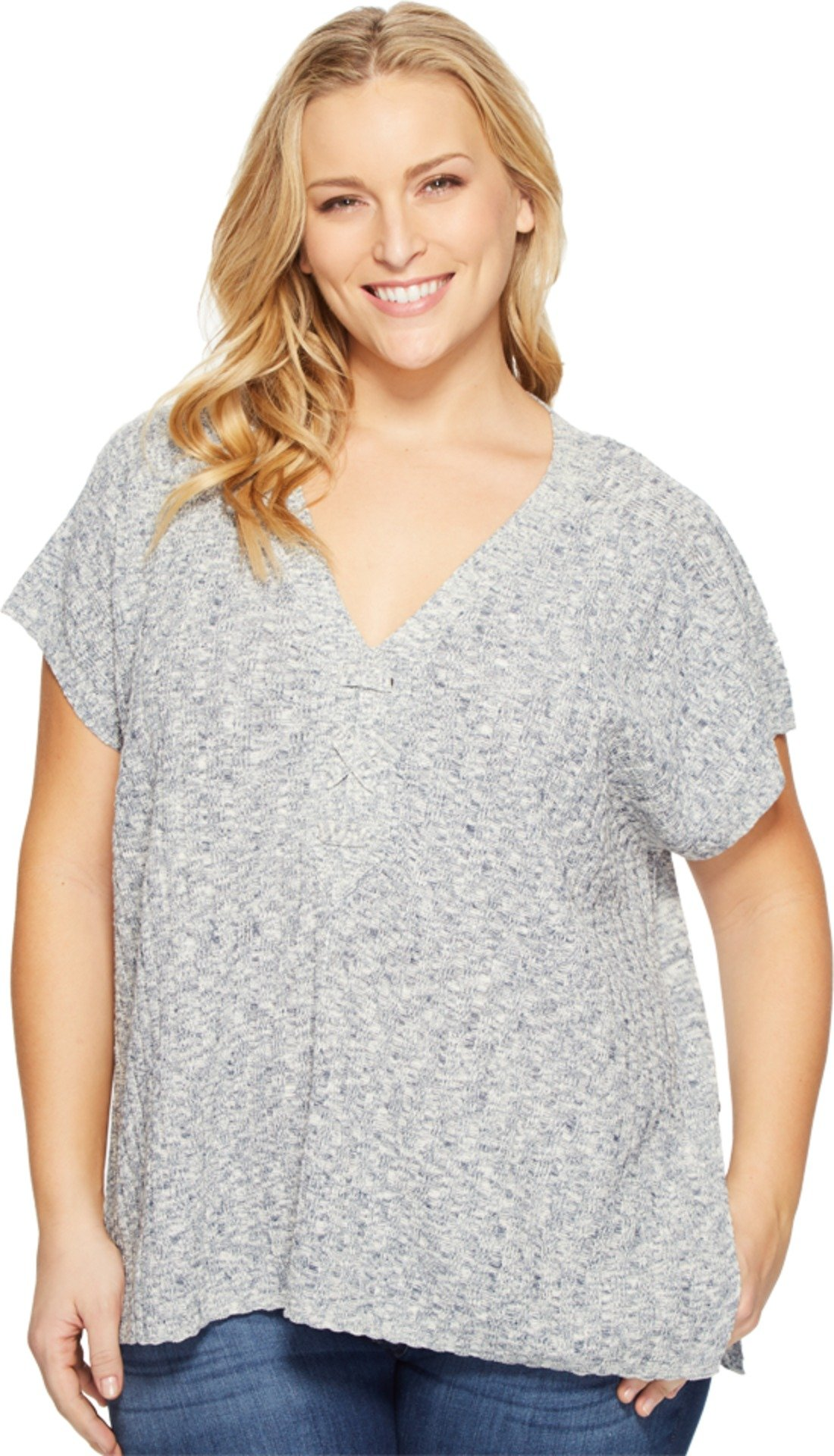 NYDJ Women's Plus Size Heathered Lace up Short Sleeve Sweater, Kingston Blue, 1X