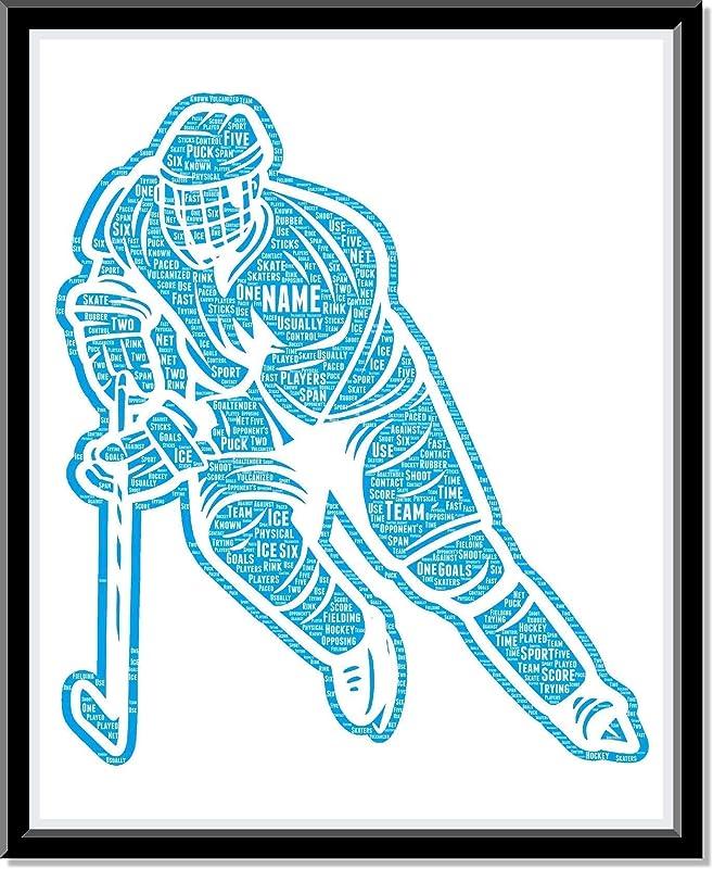 Hockey Decor Art, Personalized Ice Hockey poster gifts for him, Birthday Gifts, Word Art Typography Hockey lover Player Man Custom Print for Hockey Room Decor Boys…