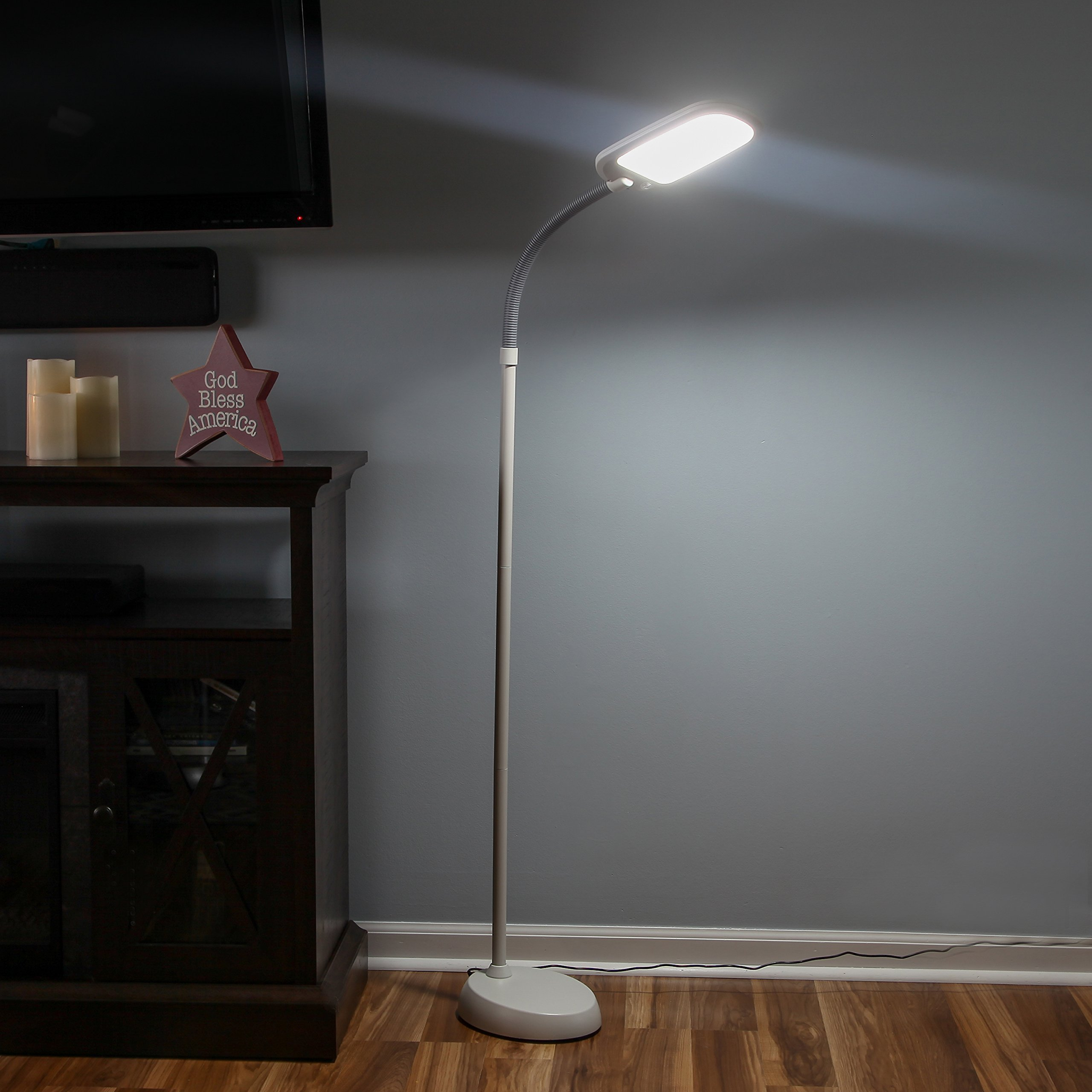 Brightech Litespan 2nd Edition LED Reading & Craft Floor Lamp - Dimmable & Light Color Adjustable with Touch Switch - Standing Tall Pole Task Lamp with Gooseneck for Office - Alpine White by Brightech (Image #6)