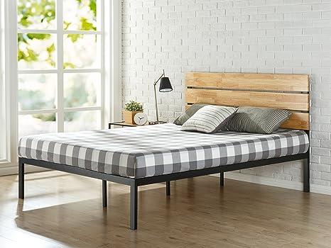 Zinus Cama de plataforma de madera y metal con listones de madera de pino Paul , Base para colchón, Sin necesidad de usar un somier, Sólido soporte de ...
