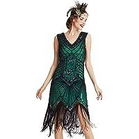 Babeyond Vestido de charlestón, estilo de los años 20, del Gran Gatsby, con flecos, cuentas y cuello en V