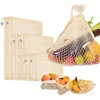 7 Packs Eco-Friendly Reusable Cotton Mesh Produce Bags, Washable Reusable Bags for Vegetable and Fruit, Perfect for…