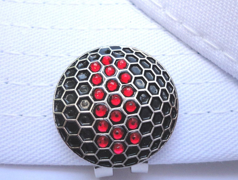 ブラックとレッドクリスタルゴルフボールマーカー磁気ハットクリップ   B078PVD7RM