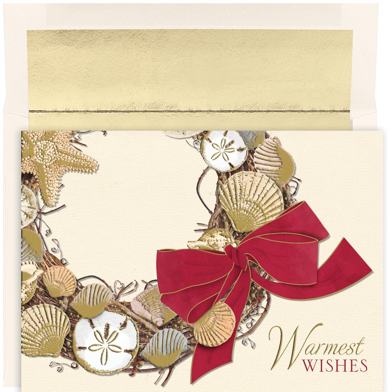 Coastal Beach Shell Wreath Box of 18 Warm Weather Christmas Cards