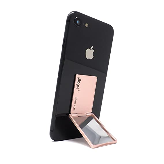 on sale d8ef5 ad24d Flip Stand (aka Piggy Pro) Adjustable Phone Stand & Grip with Compact  Mirror, Compatible with Magnet Car Mount (Rose Gold)
