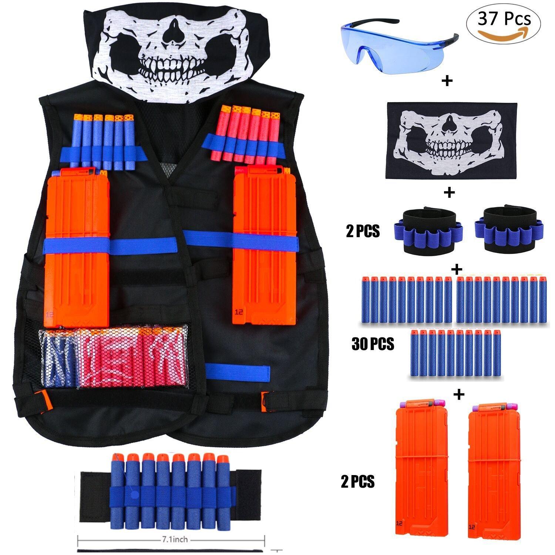 Elite Tactical Vest Kit für Nerf N-Strike Elite-Serie, 40-Dart Nachfüllpack, nahtlose Schädel-Gesichtsmaske 40-Dart Refill Pack vorosy ner kit