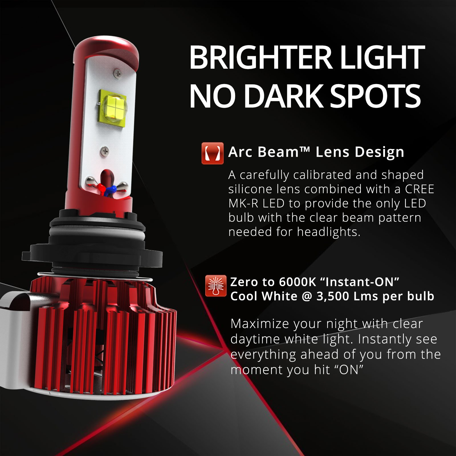 OPT7 Fluxbeam 9007 LED Headlight Bulbs w/TIPM Resistors Kit - 80w 7,000Lm 6K Cool White CREE - 2 Yr Warranty - for Dodge, RAM, Jeep, Chrysler by OPT7 (Image #3)