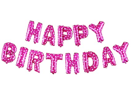 Treasures Gifted 16 Inch Pink Happy Birthday Balloons Aluminum Foil Banner Set Of Air Filled Inflated