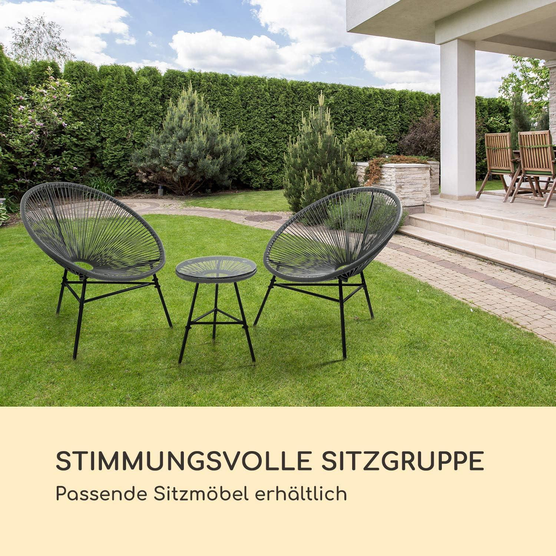 blumfeldt Las Brisas T Gartentisch Bespannung aus 4mm-Geflecht witterungsbest/ändig Material Gestell: pulverbeschichteter Stahl grau Retro-Design