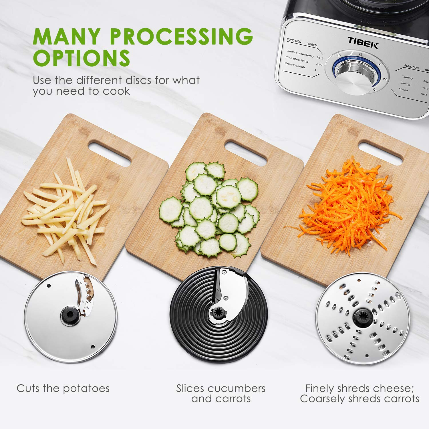 Food Processor 12-Cup, Multi-Function Food Processor 6 Main Functions with Chopper Blade, Dough Blade, Shredder, Slicing Attachments, 3 Speed 600W Powerful Processor, Silver by Tibek (Image #4)