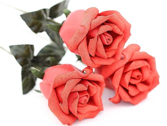 Amazon.com: 3 leather rose bouquet coral orange 3rd wedding ...