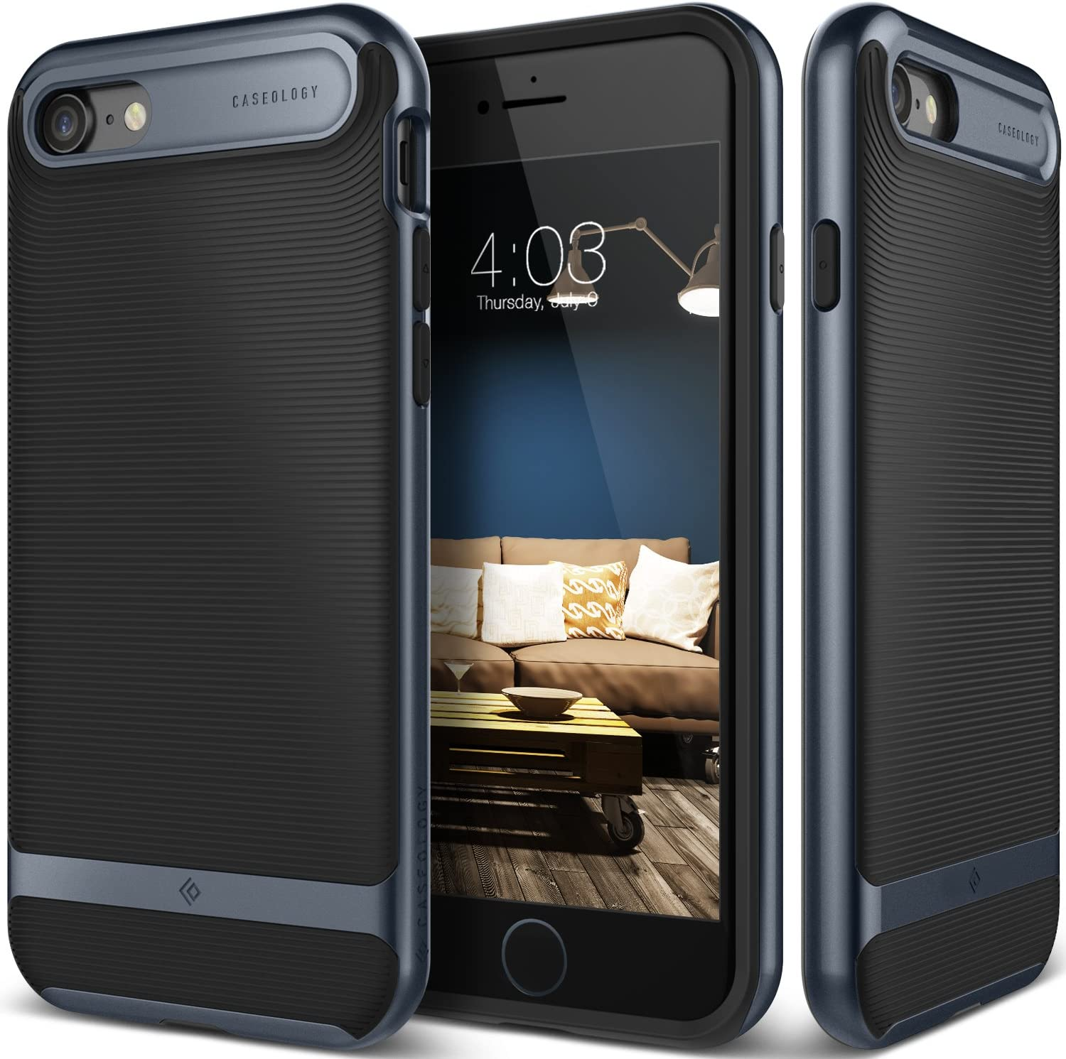 Caseology Wavelength for Apple iPhone 8 Case (2017) / for iPhone 7 Case (2016) - Stylish Grip Design - Black/Deep Blue