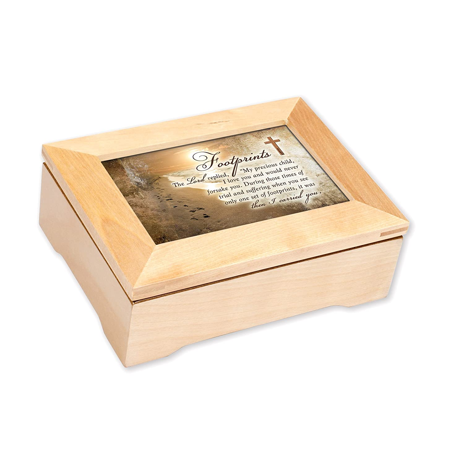 Amazon.com: Footprints in the Sand 8 x 6 Inch Wood Keepsake Music ...
