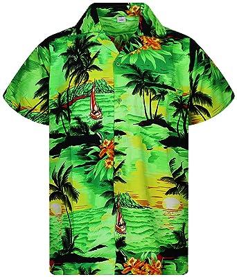 bc3fb7081 V.H.O Funky Hawaiian Shirt for Men Shortsleeve Front-Pocket Casual Button  Down Surf