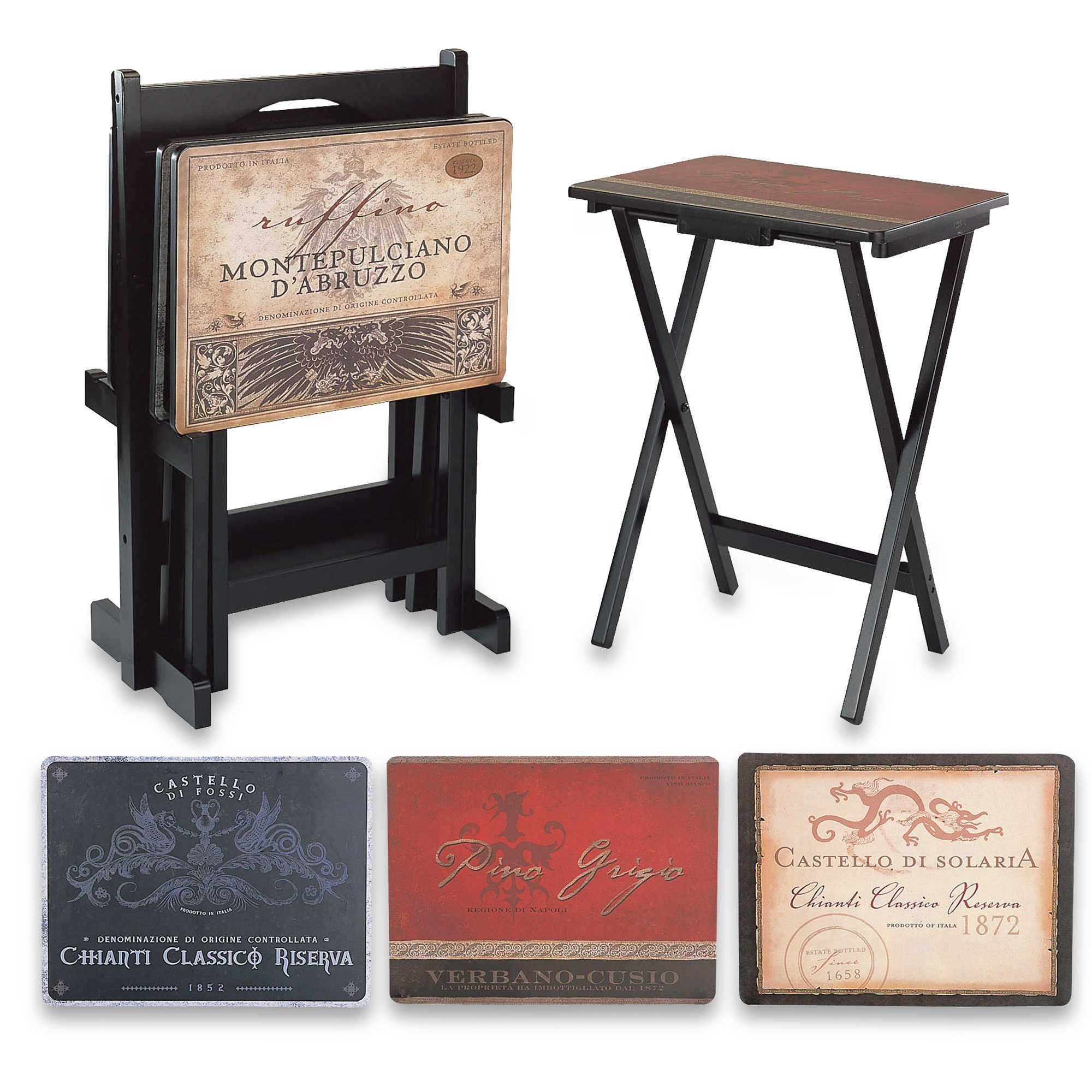 Cape Craftsmen Tray Tables with Classic Functional and DecorativeVintage Wine Labels Snack Table Set. Includes 4 Snack Tables and Stand by Cape Craftsmen