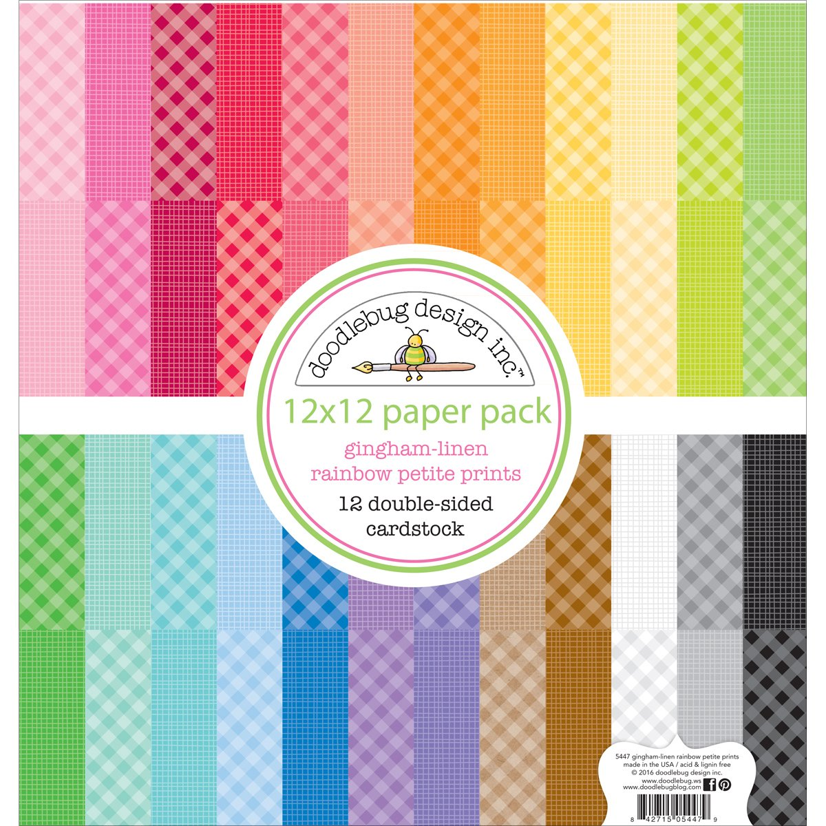 """6 Designs//4 Each Pink /& Main Double-sided Paper Pad 6/""""x6/"""" 24//pkg-rainbow"""