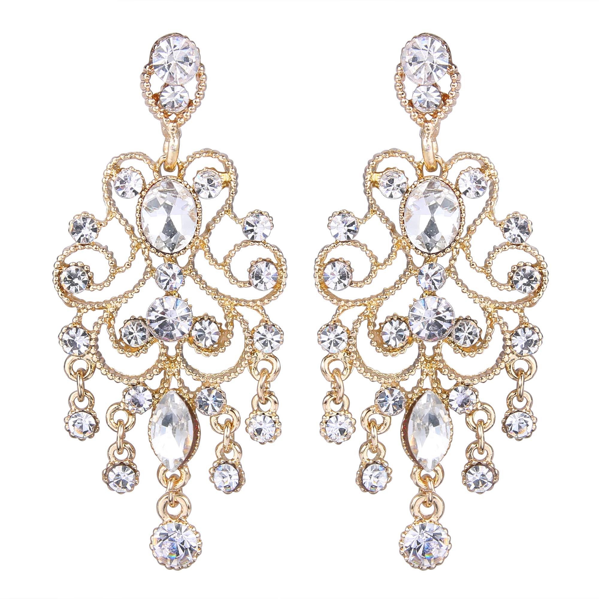 BriLove Gold-Toned Dangle Earrings for Women Vintage Style Bridal Crystal Drop Hollow Filigree Chandelier Earrings Clear