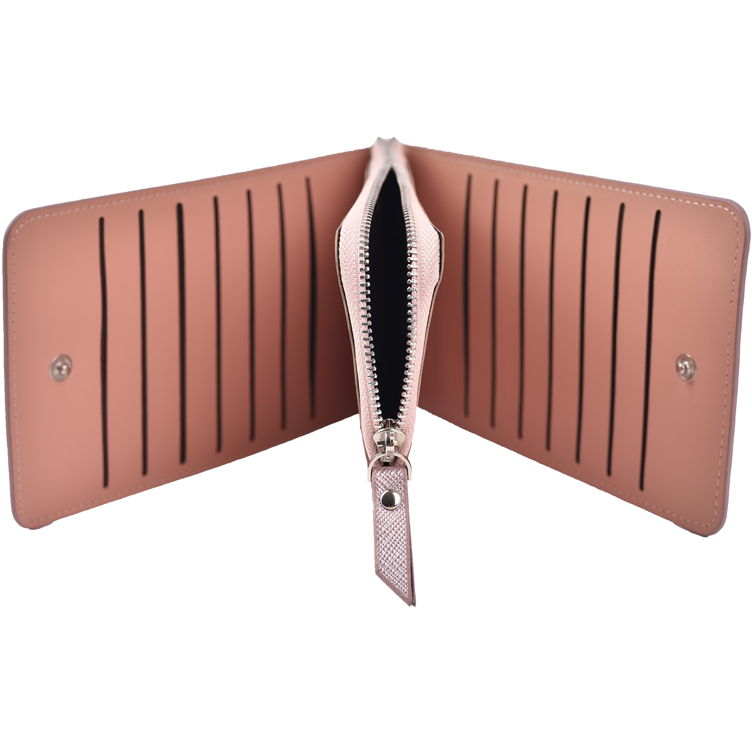 Women's Leather Card Case Holder Wallet Rfid Trifold Thin Zipper Wallet Purse (Light Purple) by Yuhan Pretty (Image #4)