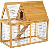 "Pawhut 47"" 2 story Outdoor Wooden Rabbit Hutch with Run"