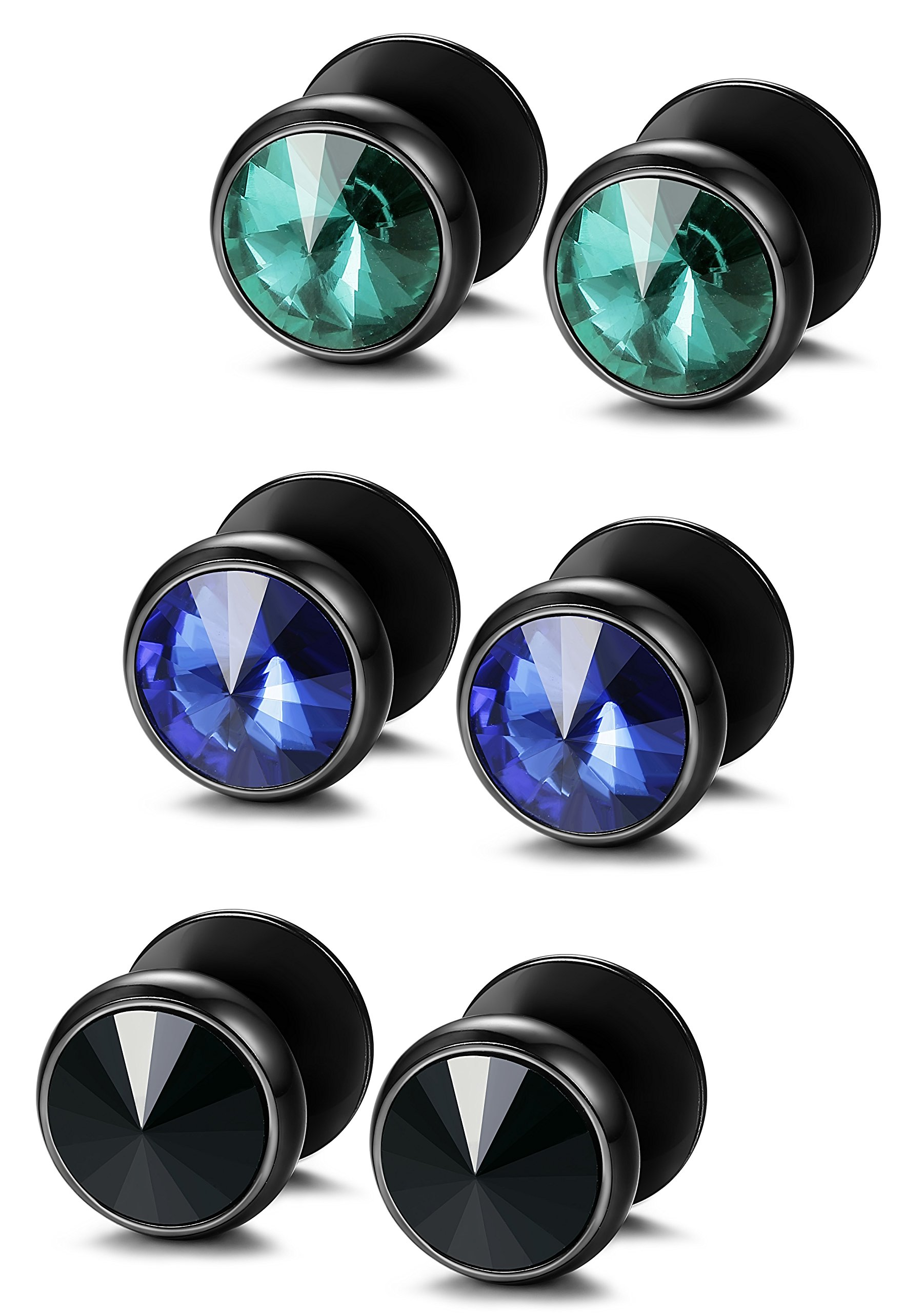 FIBO STEEL 3 Pairs Stainless Steel Round Stud Earrings for Men Women CZ Earrings,8MM