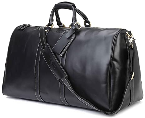 Amazon.com: BAIGIO Men's Genuine Leather Travel Duffel Weekender ...