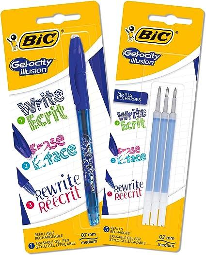 BIC Gel-ocity Illusion Bolis de Gel Borrables punta media (0,7 mm) – Azul, Lote de 1 Bolígrafo y 3 Recambios: Amazon.es: Oficina y papelería