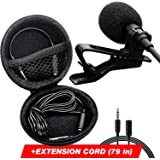 Lavalier Microphone - Professional Lapel Mic - IPhone Microphone for - Youtube - Interview - Vlog - Voice Dictation - Speech - Podcast - with Easy Clip-On System - Long Cord