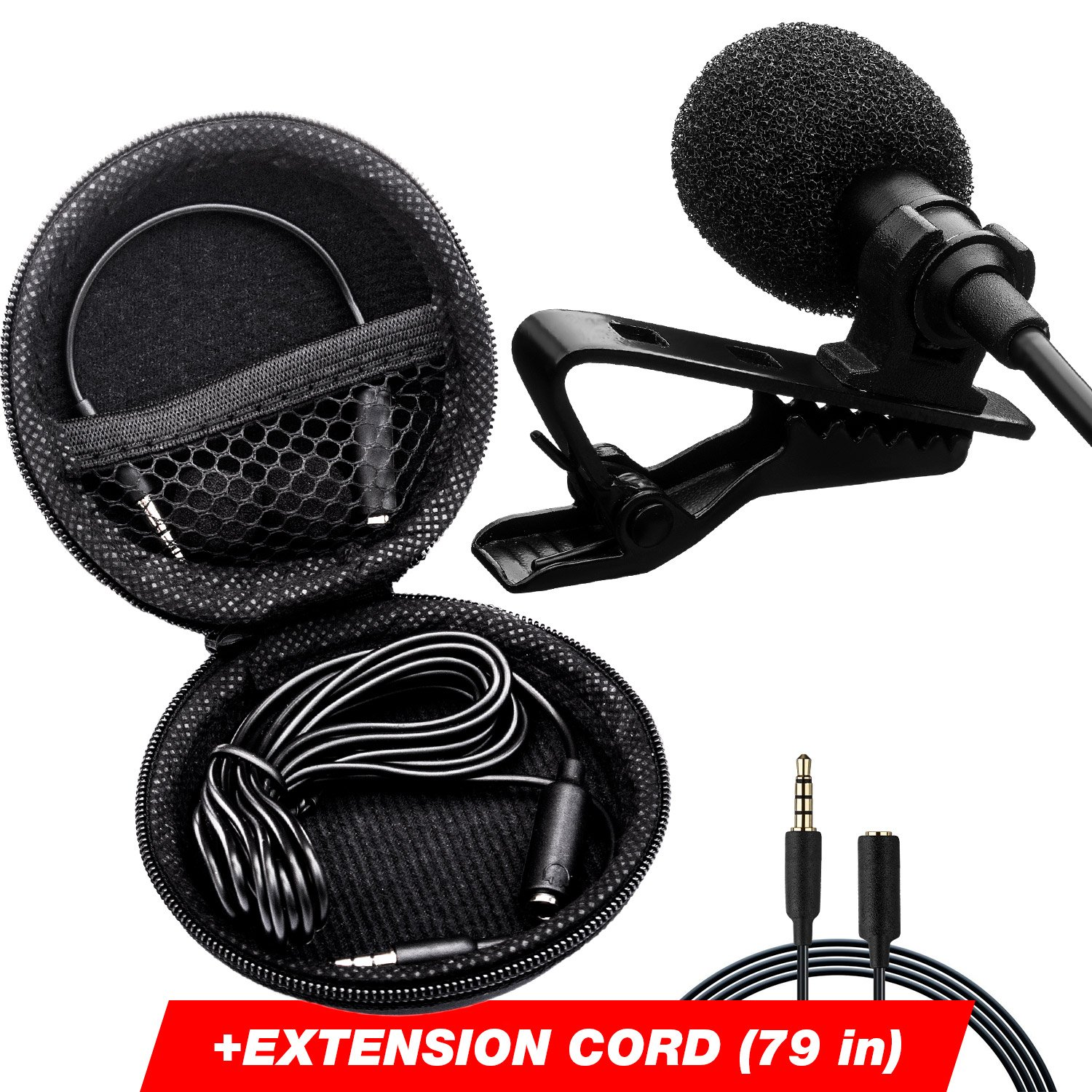 Professional Lavalier Microphone - Long Cord Lapel Mic - Iphone Microphone for Podcast, YouTube, Recording Interview, Voice Dictation and Speech - with Easy Clip-On System