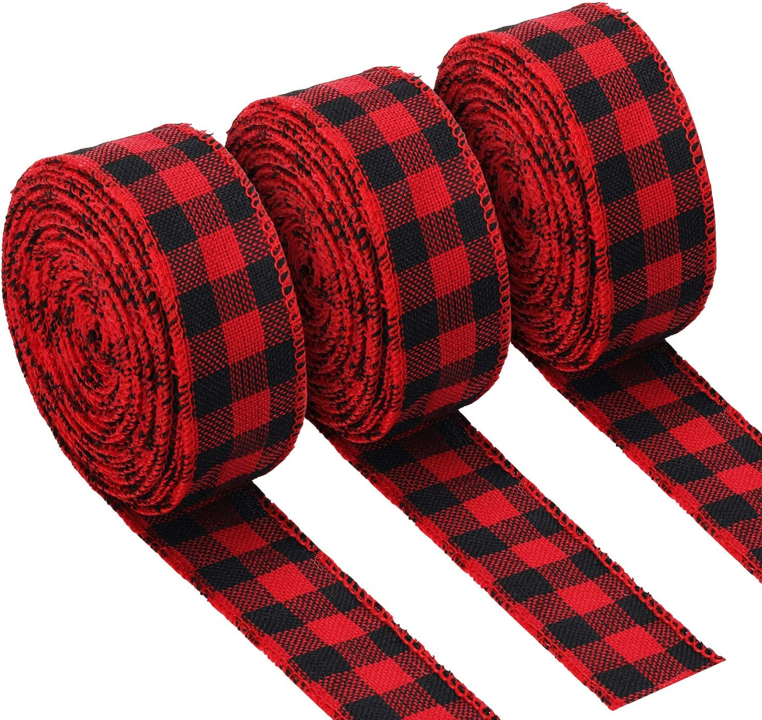 3 Rolls Red and Black Buffalo Plaid Ribbon Christmas Wired Edge Ribbon Check Burlap Ribbon for Gift Wrapping Crafts Decoration 1.34 by 315 Inches