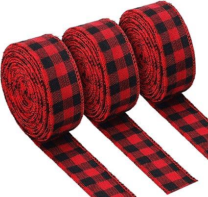 Wired Ribbon ~ Checkered Edge Ribbon ~ Pink and Burlap Ribbon ~ 1.5 Inch Ribbon