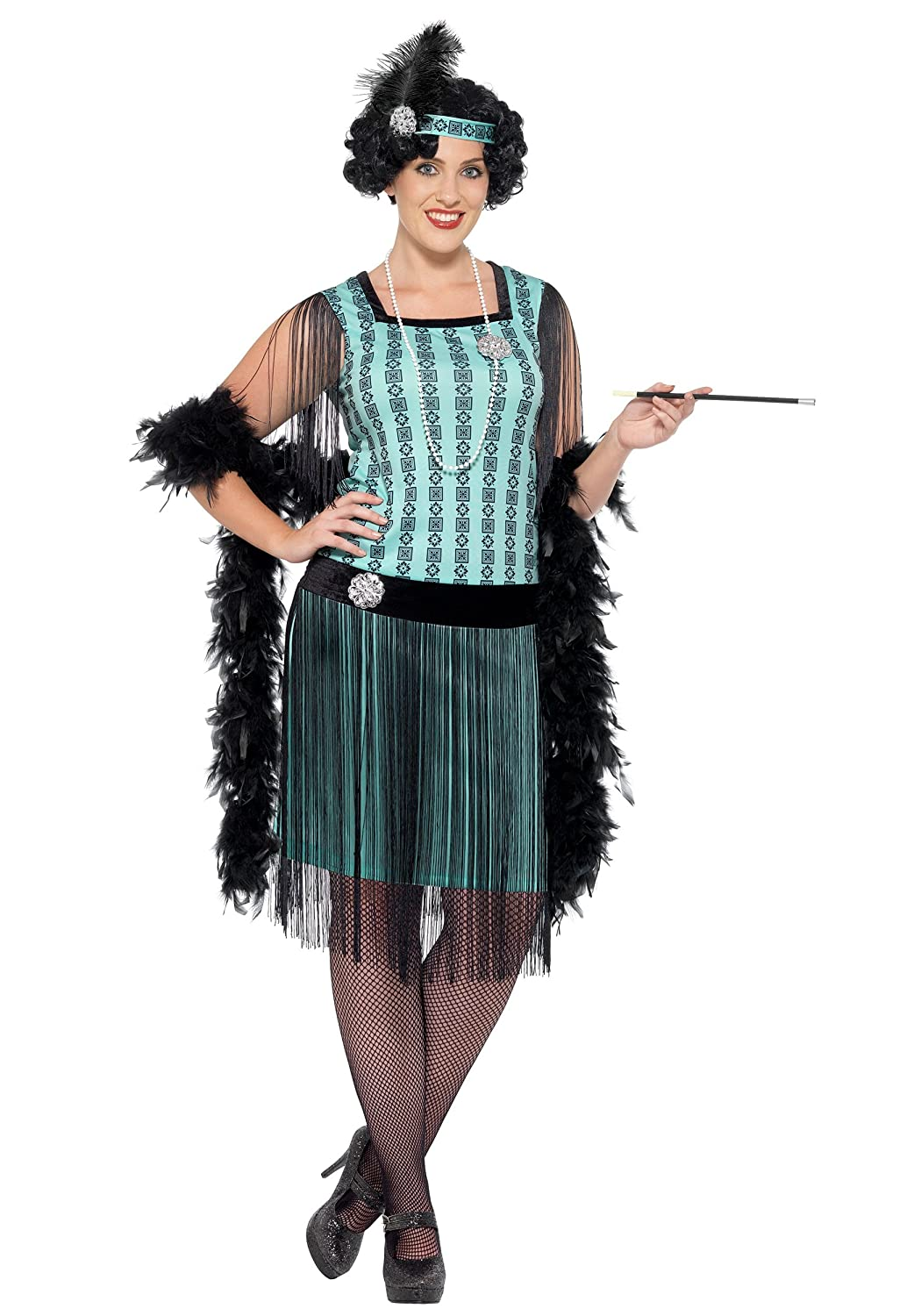Roaring 20s Costumes- Flapper Costumes, Gangster Costumes Smiffys womens Womens Plus Size 1920s Mint Coco Flapper Costume $59.99 AT vintagedancer.com