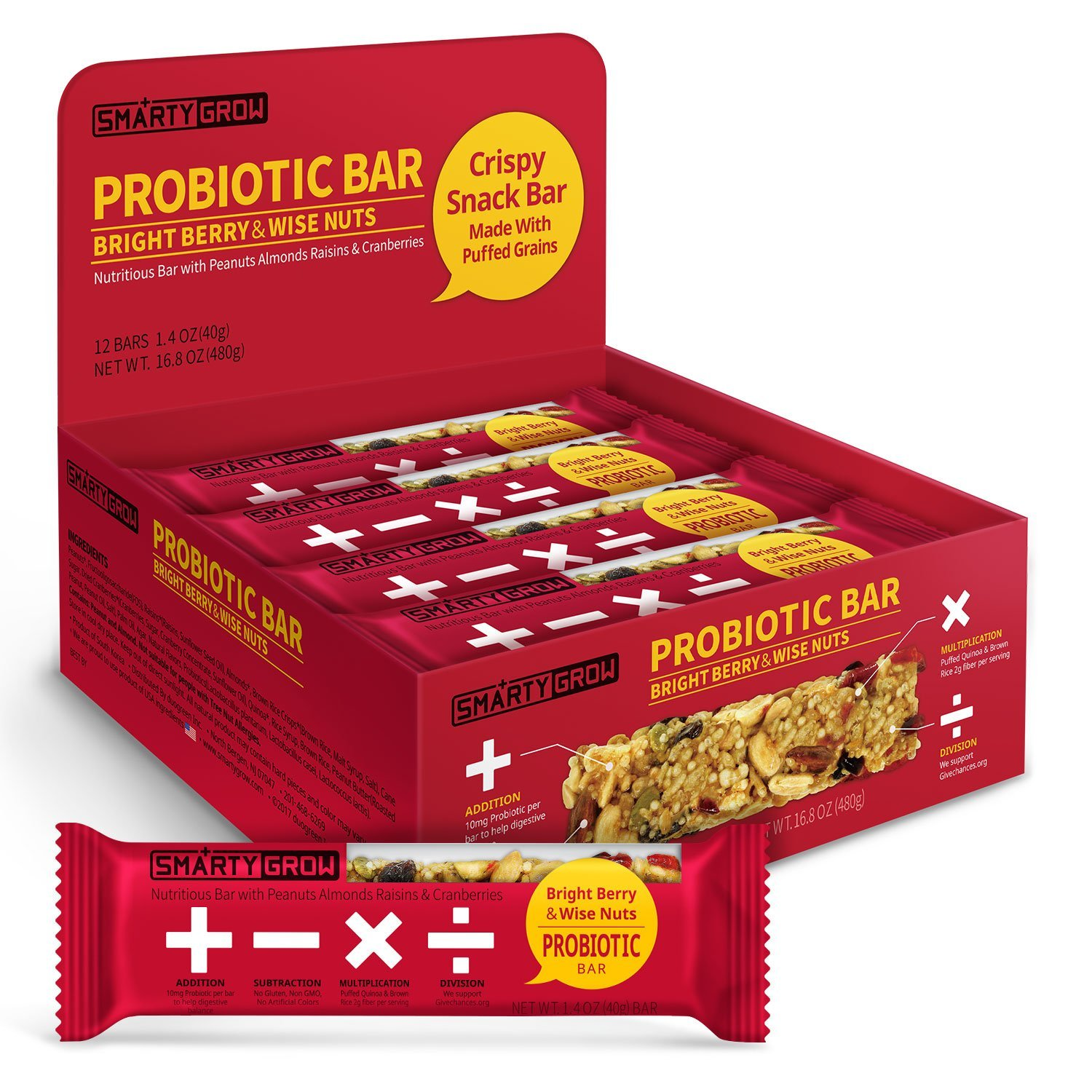 Probiotic Snack Bars, All Natural Healthy Gluten Free Non-GMO 1.4 Ounce (12 Count)